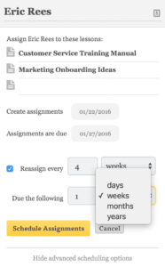 Scheduled Assignments Recurring Options
