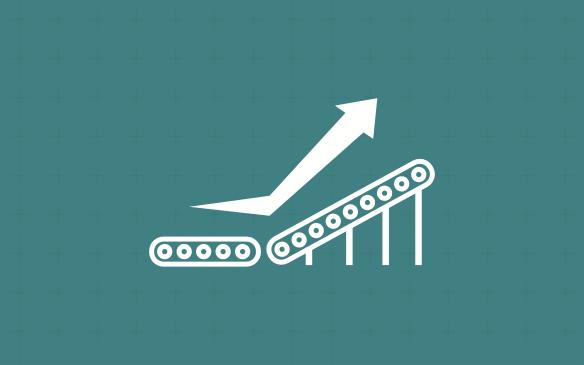 conveyor belt and rising arrow graphic