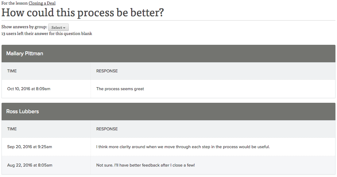 Lessonly Free Response Feedback Page