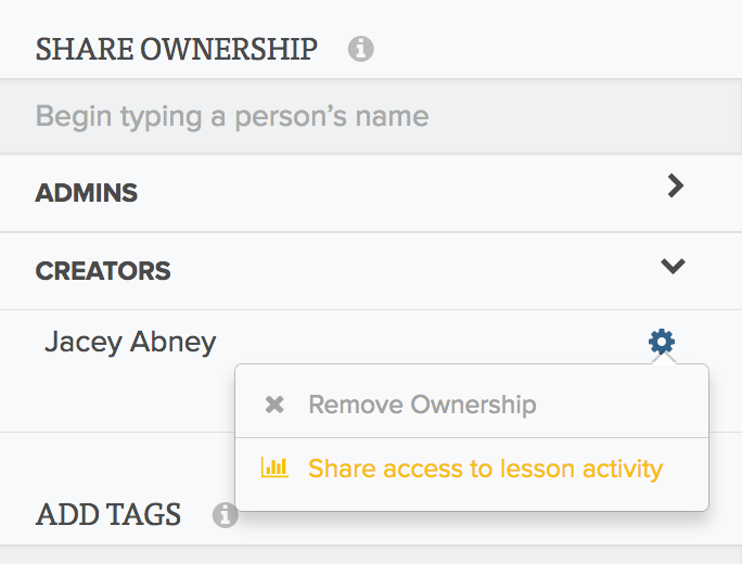 New Lesson Activity Permissions
