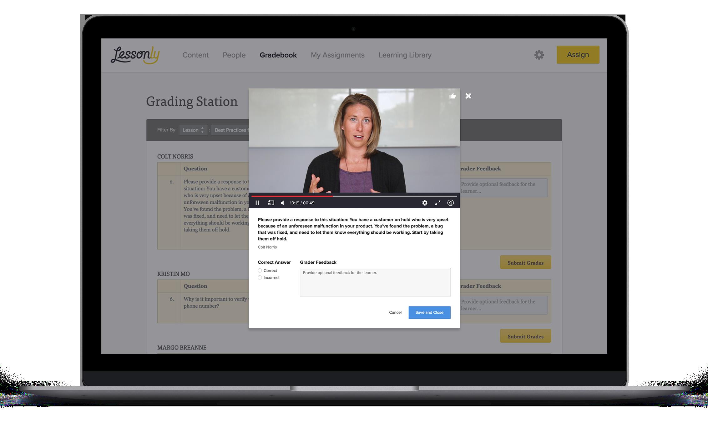 Video Response grading feedback