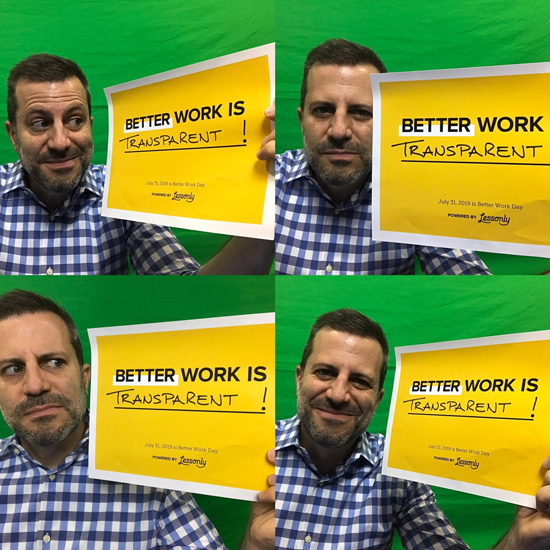 Person showing off a certificate that says what better work means to them