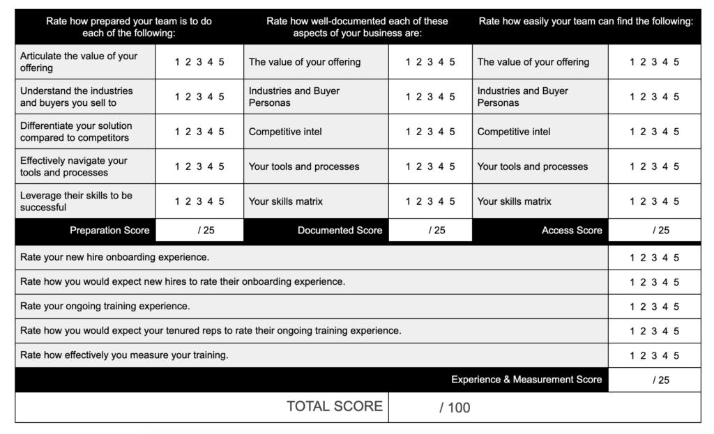Skills Matrix Questionnaire